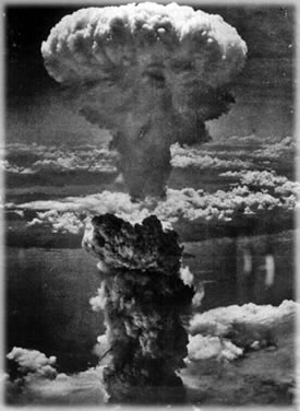 The atomic bombing of Nagasaki.