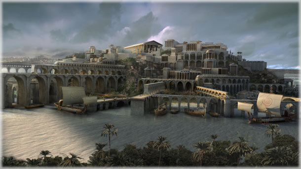 Atlantis as envisioned by computer graphic artist, for the Nat Geo program Finding Atlantis. The producers say that the image is a composite of many ideas from classical monuments.
